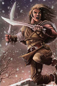 A 4th Edition halfling, lunging with a pair of blades.
