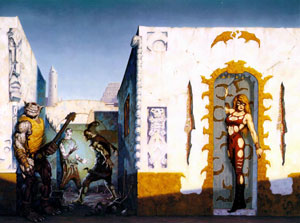 Sadira, in a Tyrian alleyway, by Brom.