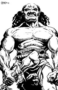 An Athasian half-giant, towering over a human or elf.
