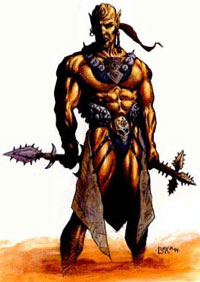 A mul warrior, from the Dark Sun Monstrous Compendium II.